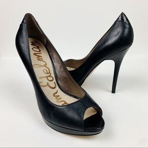 Sam Edelman Ella Peep Toe Platform Pumps Black 7